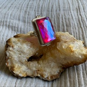 Jewelry - Sterling Silver Large Pink Opalite Cocktail Ring